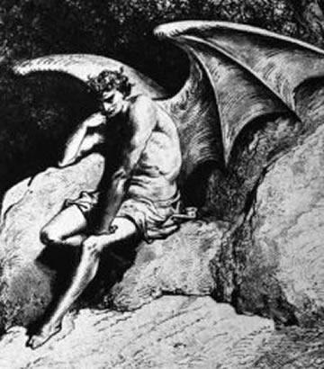 Lucifer (aka The Devil, Satan, Dick Cheney) strikes Thinker pose as he ponders his 25 Random Things list