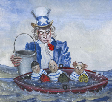Uncle Sam's New Improved Economic Bailout Plan: Just add more tax $$$ (drowning CEO stooges sold separately)