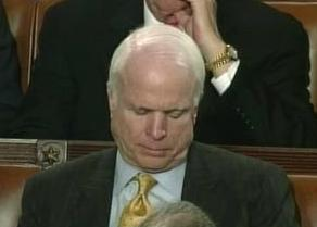 In between doing-nothing inactivities, Sen. John McCain takes a nap in Senate chamber
