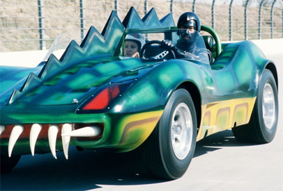 "Death Race 2000 Car: ""Double bonus: A biker pulling a child. Yummy..."""