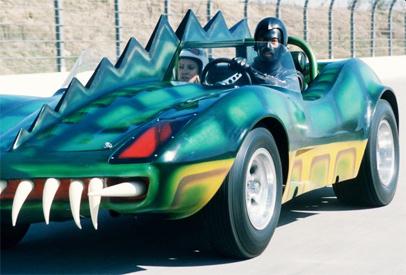 "Death Race 2000 Car: ""Double bonus: A biker pulling a child. Yummy..."""